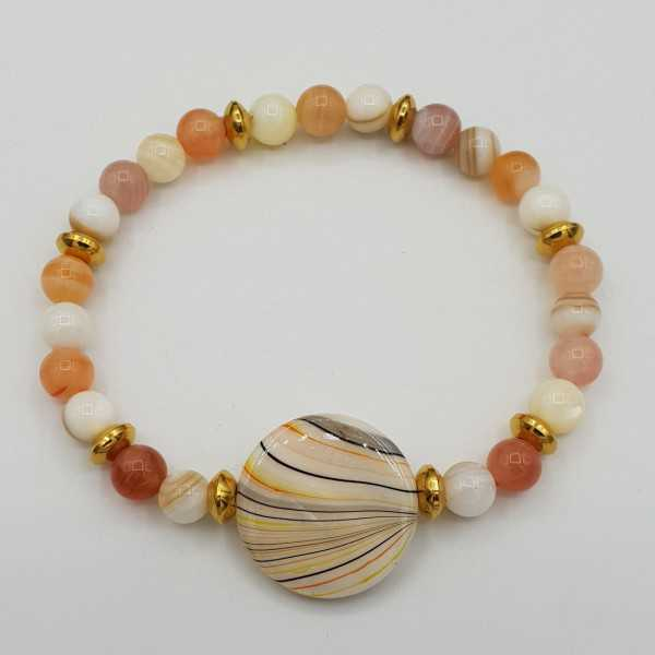 Bracelet with botswana Agate and shell