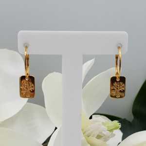 Vergoldete Ohrringe mit rechteckigem Baum des Lebens Anhänger
