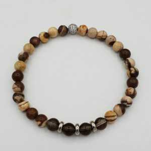 Bracelet with Smokey Topaz and Peanut wood Jasper