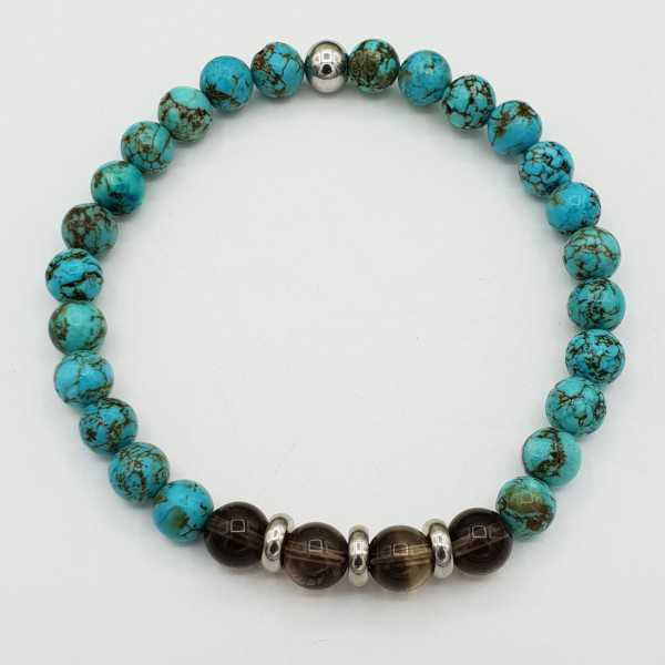 Bracelet with Smokey Topaz and blue Howliet
