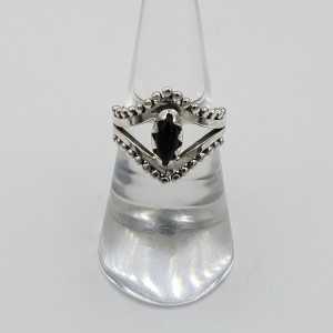 Silber boho-ring mit schwarzem Onyx