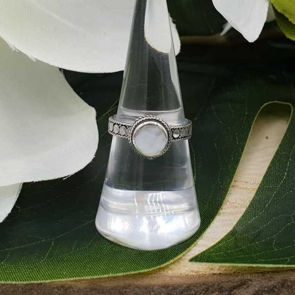 Silber ring set mit Runden Perlmutt