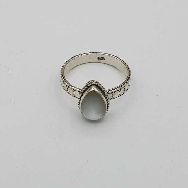 Silber ring set mit ovalen mother-of-Pearl