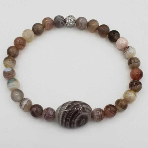 Armband mit ovalen und Runden Botswana Achat Perlen