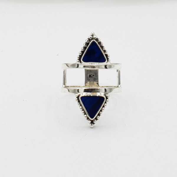 Silber ring-set mit dreieckigen blue Abalone shell
