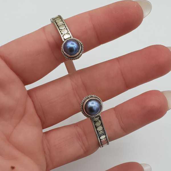 Zilveren beaded bangle armband met Parel