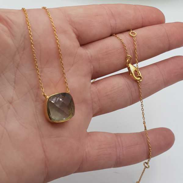 Gold plated necklace with square green Amethyst quartz pendant