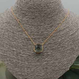 Vergoldete Halskette mit square grün Amethyst Quarz Anhänger