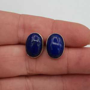 Zilveren edelsteeen oorknoppen met cabochon Lapis Lazuli