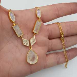 Vergoldete Halskette mit Regenbogen-Mondstein und Cz