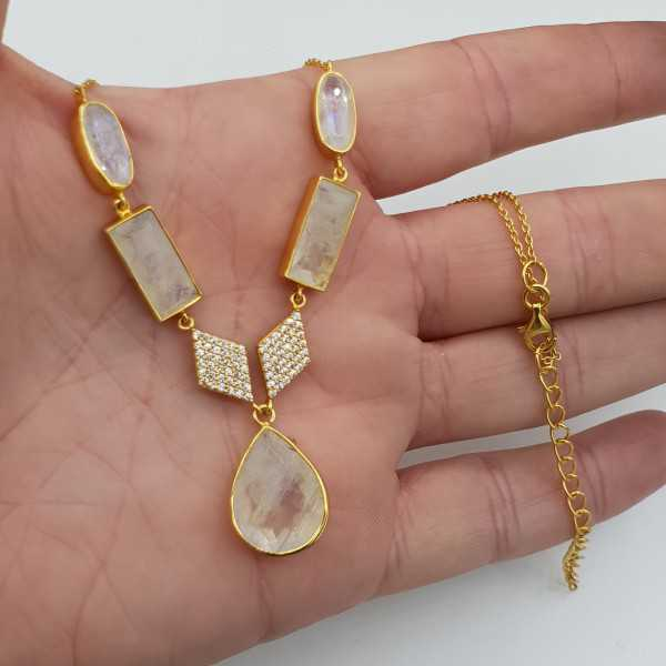 Gold plated necklace with rainbow Moonstone and Cz