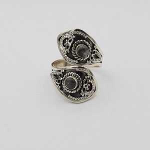 Zilveren ring gezet met Labradoriet verstelbaar
