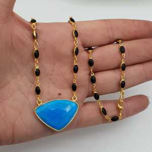 Gold plated necklace with black Onyxen and Turquoise pendant