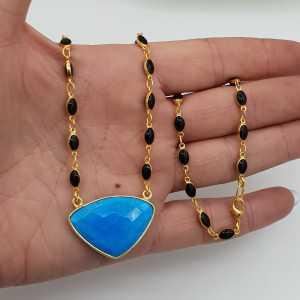 Vergoldete Halskette mit schwarzen Onyxen und Türkis Anhänger