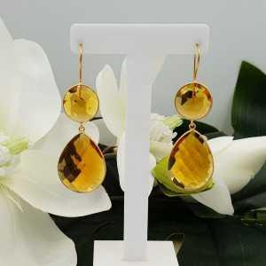 Goud vergulde oorbellen met ronde en druppelvormige Citrien quartz