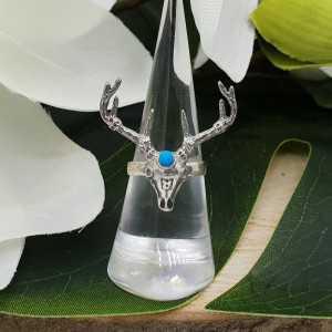 Zilveren ring met rendier schedel en Turkoois 16.5 mm