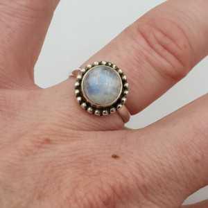 Silber ring set mit Runden Regenbogen-Mondstein 16,5 mm