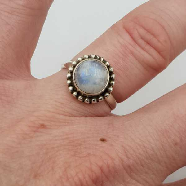 Silver ring set with round rainbow Moonstone 16.5 mm