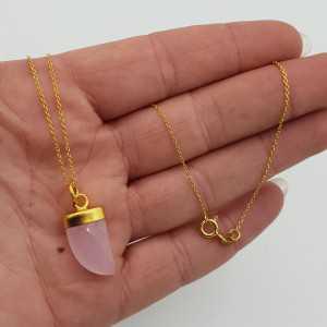 Vergoldete Halskette mit rosa Chalcedon horn Anhänger