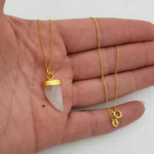 Vergoldete Halskette mit Regenbogen-Mondstein horn Anhänger