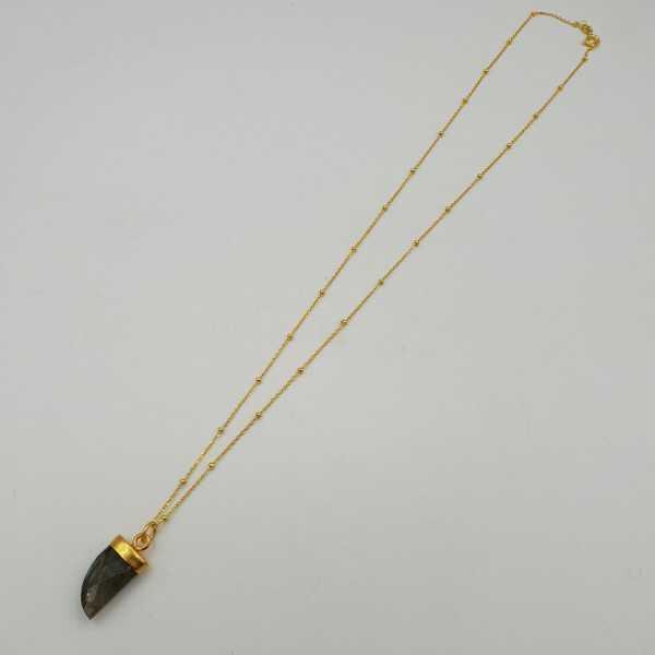 Goud vergulde ketting met Labradoriet hoorn hanger