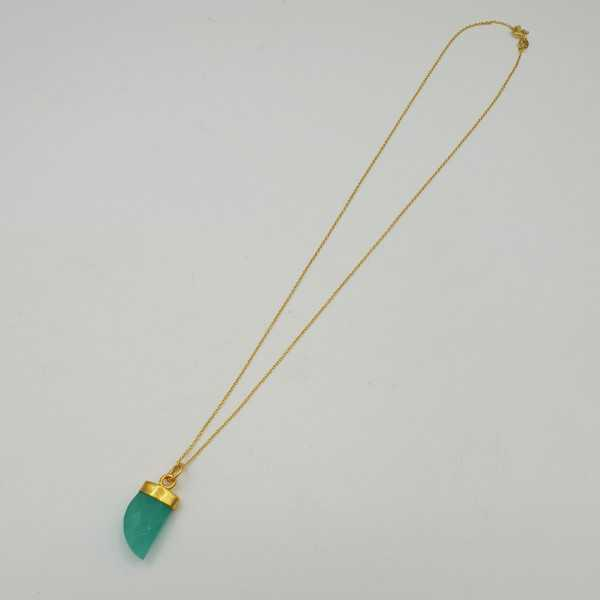 Gold plated necklace with aqua Chalcedony horn pendant
