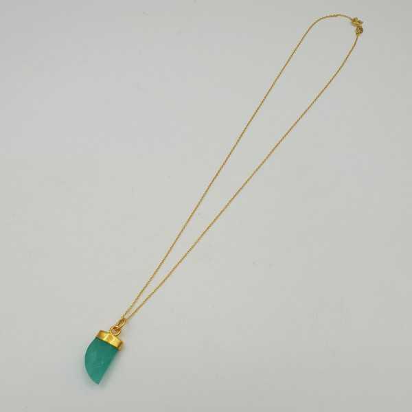 Goud vergulde ketting met aqua Chalcedoon hoorn hanger