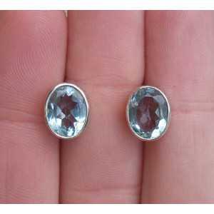 Silber oorknoppen-set mit blauem Topas
