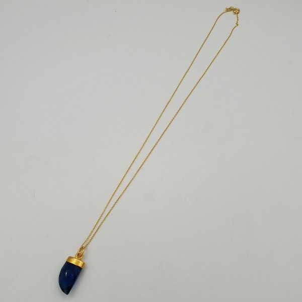 Vergoldete Halskette mit Saphir blauer Quarz horn Anhänger