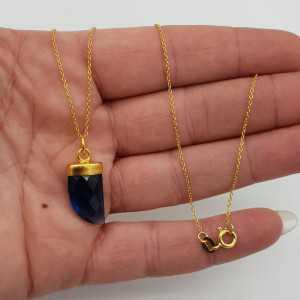 Gold plated necklace with Sapphire blue quartz horn pendant