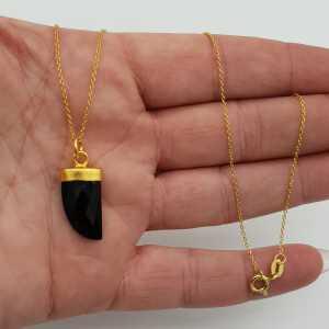 Vergoldete Halskette mit schwarzen Onyx horn Anhänger