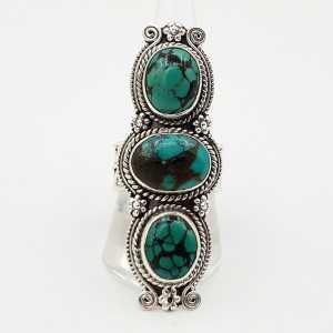 Silber boho-ring-set mit Türkis 19,5 mm