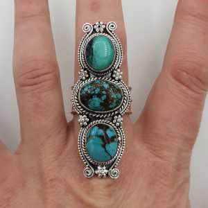 Zilveren boho ring gezet met Turkoois 19 mm
