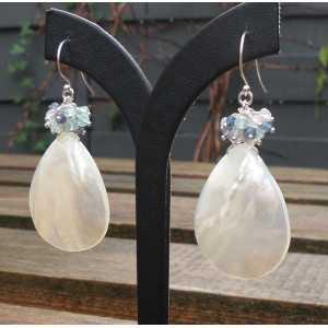 Silber Ohrringe mit Mutter der Perle, Ioliet, Topas und Rosenquarz