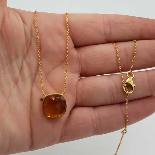 Gold plated necklace with square Citrine quartz pendant