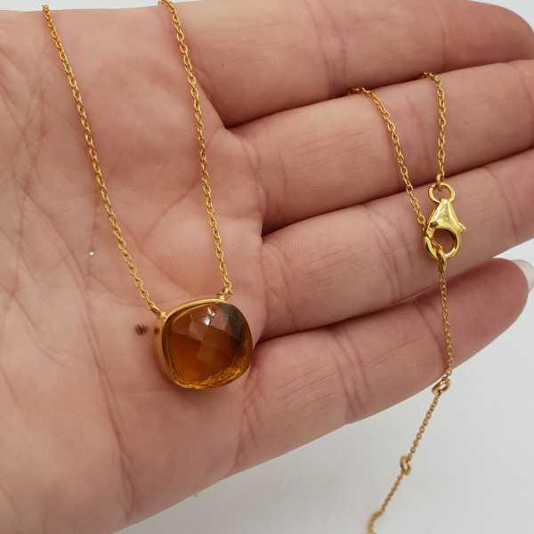 Goud vergulde ketting met vierkante Citrien quartz hanger