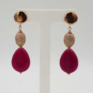 Earrings with fuchsia pink Jade briolet