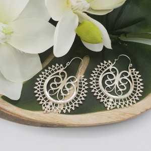 Zilveren grote Bali creolen