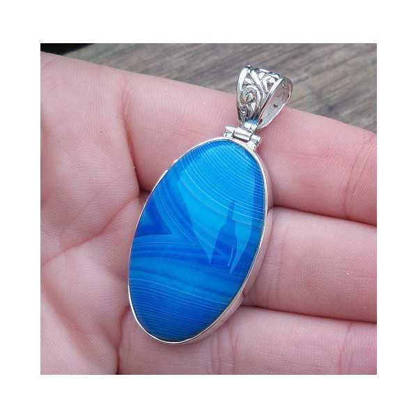 Zilveren hanger met ovale blauwe Botswana Agaat