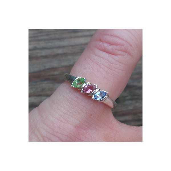 Silber ring mit rosa Turmalin, Peridot und Topas 15,7 mm