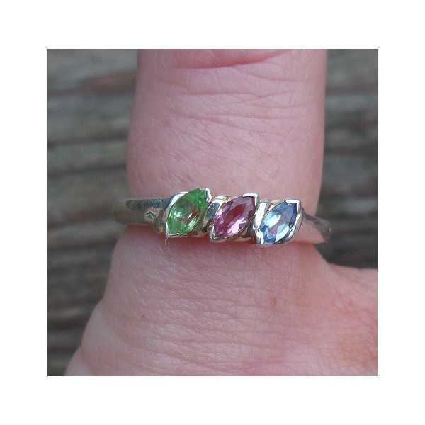 Silver ring set with pink Tourmaline, Peridot and Topaz 15.7 mm