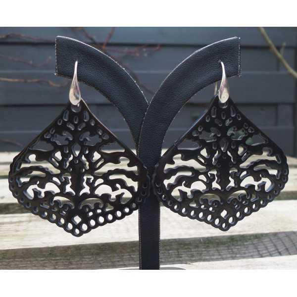 Silber Ohrringe-set mit geschnitzten schwarzen Büffel horn