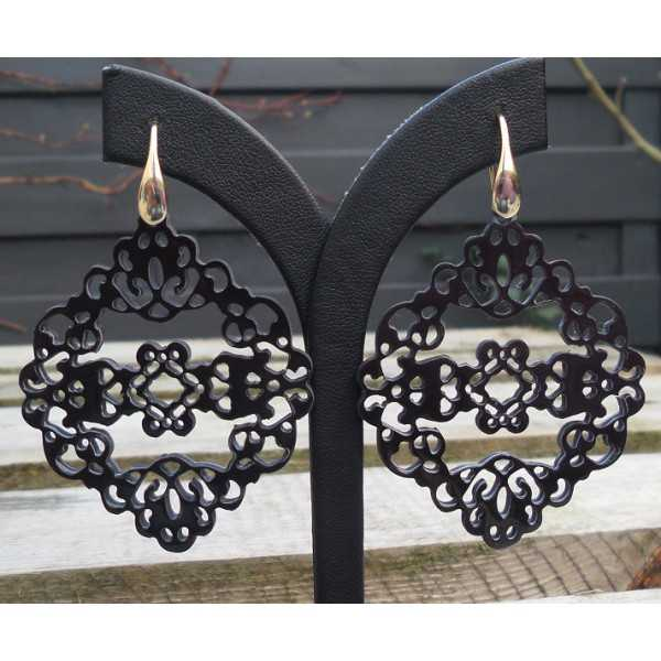 Gold plated earrings-carved black buffalo horn