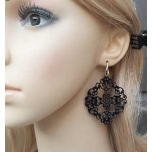 Earrings with carved black buffalo horn 03