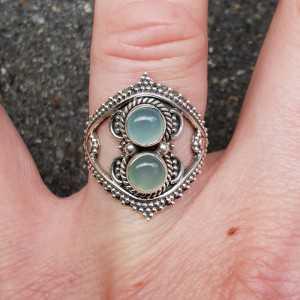 Zilveren ring gezet met aqua Chalcedoon