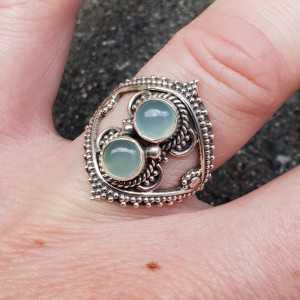 Silber ring set mit aqua Chalcedon