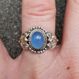 Silber ring mit blauen Chalcedon