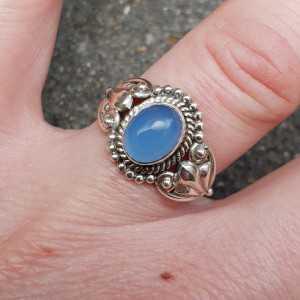 Zilveren ring gezet met blauw Chalcedoon