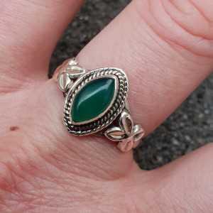 Silber ring mit marquise grüner Onyx