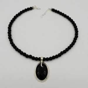 Silber Halskette mit Onyx schwarz und oval-Anhänger-set mit schwarzem Onyx